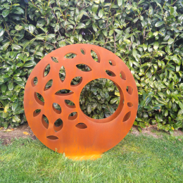 Corten steel circle leaf sculpture